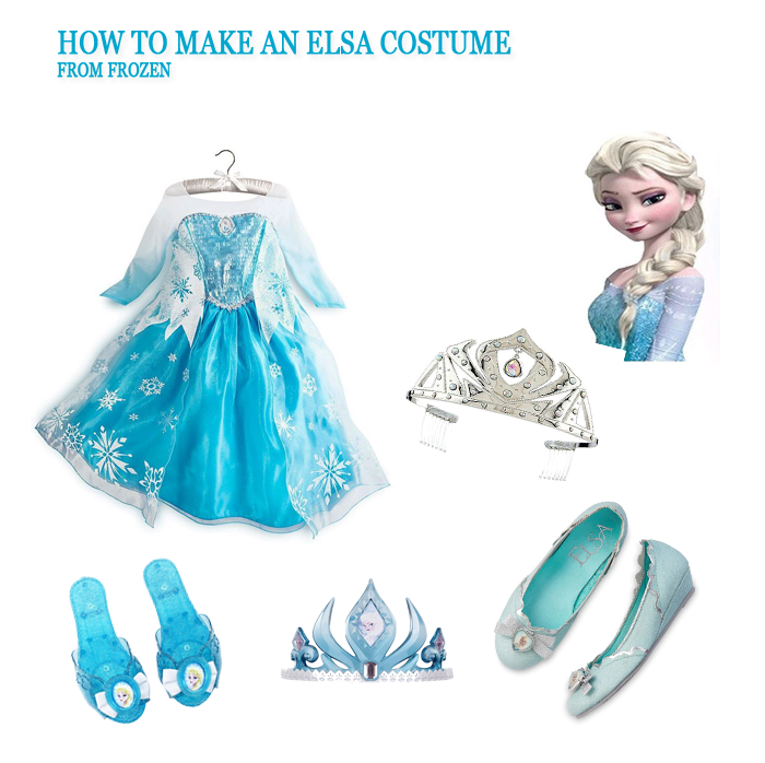 Elsa Frozen Wig Shoes Tiara Costume